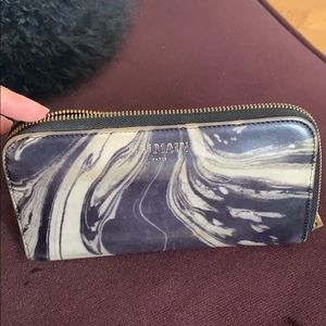 Balmain Leather ink swirl black and white wallet